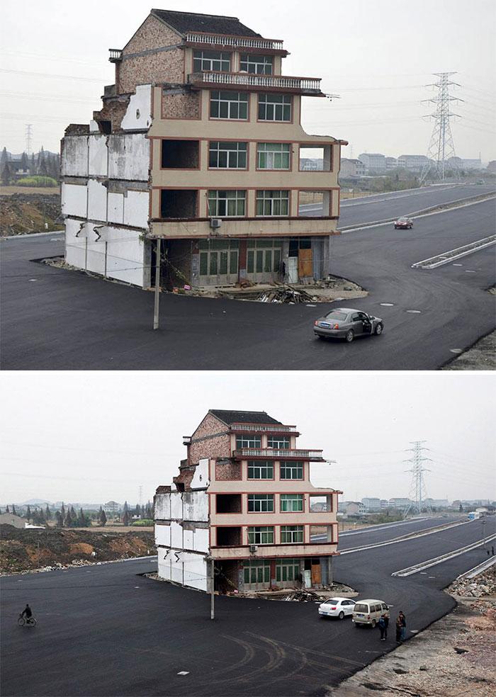 1. De här envisa peronerna vägrade flytta så Kinas regering beslutade sig för att bygga en motorväg runt huset.