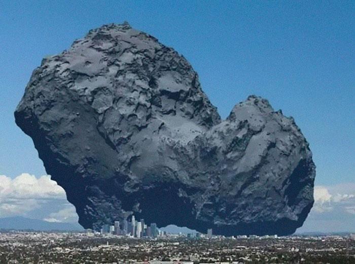 1. En komet jämfört med Los Angeles