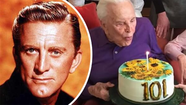 Kirk Douglas firar sin 101-årsdag och får en Van Gogh-målning som tårta
