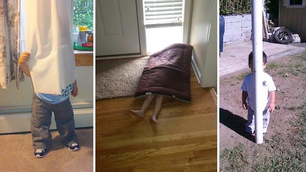 16 bilder på barn som leker kurragömma men som misslyckas totalt