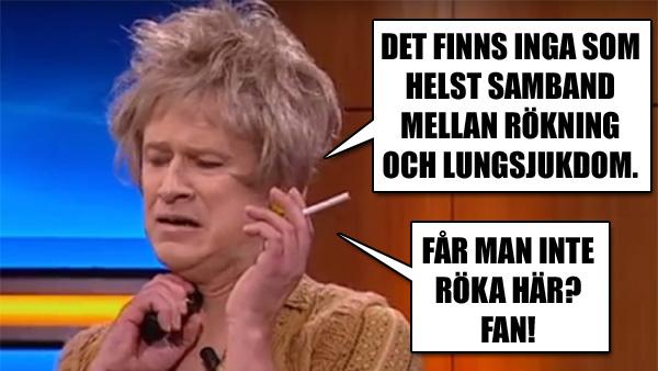 Gula Blend tanten dementerar rökningens faror - Robert Gustafsson visar varför han är Sveriges roligaste person