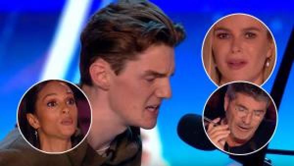Han är otroligt nervös och sjunger för sin döende mormor - hela juryn blir tårögda