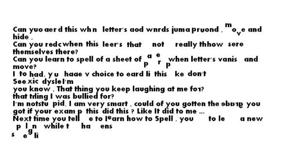 5 bilder som visar hur en person med dyslexi har det