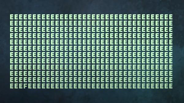 Utmaningen: Hitta bokstaven 'F' mellan bokstäverna 'E' inom 15 sekunder
